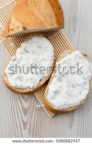 Bread with cheese spread #1080882947