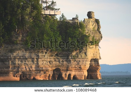 Lake View of Miners Castle at Pictured Rocks National Lakeshore in the Upper Peninsula of Michigan