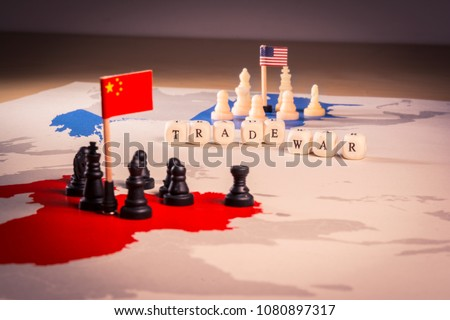 USA and China trade war concept. Tade war caused by the 2018 US tariffs on steel and aluminium #1080897317