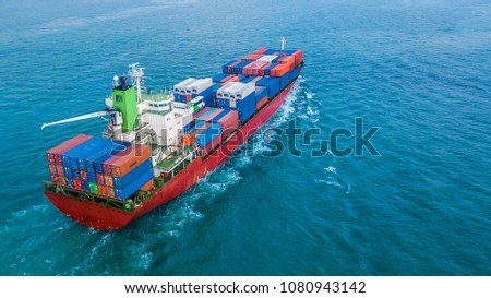 Aerial view container ship, Business import export logistic and transportation of International by cargo ship in the open sea. #1080943142