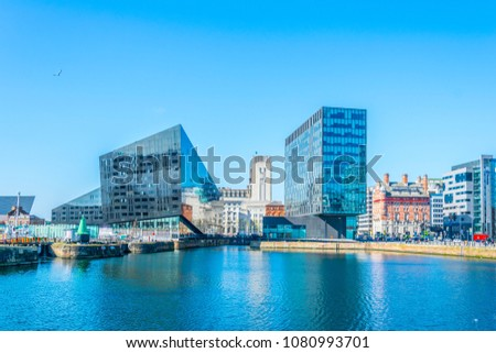 Waterside of Liverpool dominated by the museum of Liverpool and open eye gallery, England #1080993701