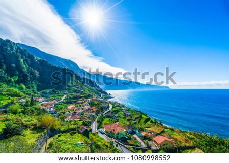 View on the northern coast by the Atlantic, Boaventura, Ponta Delgada, Madeira  #1080998552