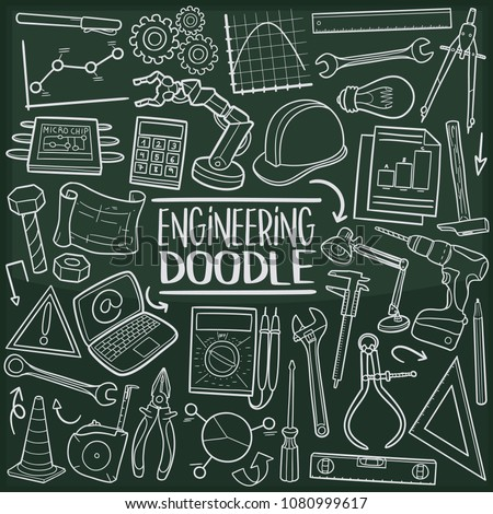 Engineering Profession Doodle Line Icon Chalkboard Sketch Hand Made Vector Art.
