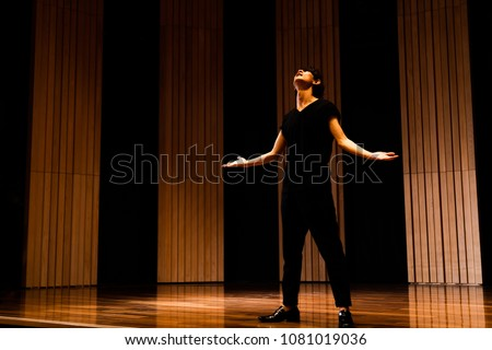 Young actor in a theater. Royalty-Free Stock Photo #1081019036