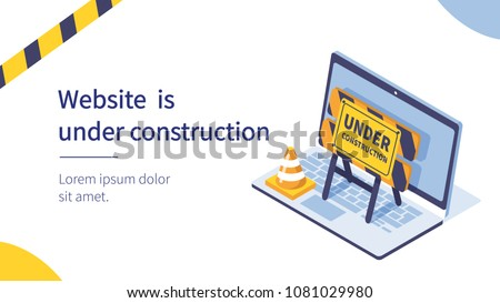 Website under construction page.  Flat isometric vector illustration isolated on white background. Royalty-Free Stock Photo #1081029980