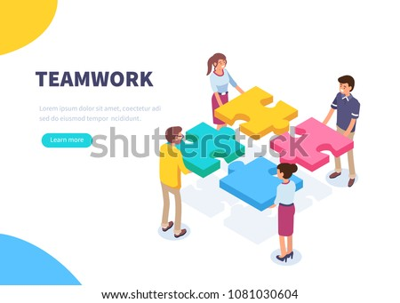 Teamwork concept banner. Can use for web banner, infographics, hero images. Flat isometric vector illustration isolated on white background. Royalty-Free Stock Photo #1081030604