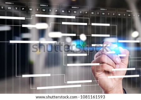 Project management chart on virtual screen. Schedule. Timeline. Royalty-Free Stock Photo #1081161593