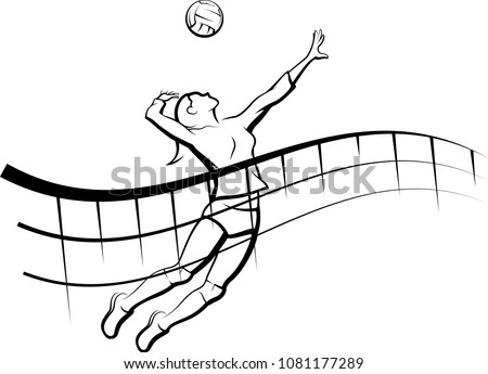 Stylized line design of a female volleyball player getting ready to spike the ball with a flowing net in front of her.