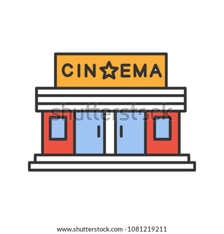 Cinema building color icon. Movie theatre. Isolated vector illustration