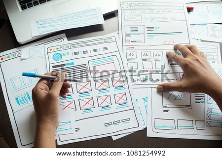 Website designer Creative planning application development  draft sketch drawing template layout framework wireframe design studio . User experience concept . #1081254992