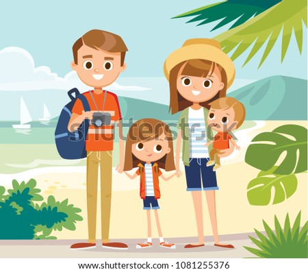 Portrait of family on overseas vacation on seashore standing at beach family arrived at tropical resort destination