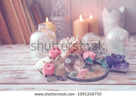 gemstones crystal minerals, candle and sea shells. Crystal Ritual, Witchcraft, Prosperity, Meditation, Relaxing Chakra, Healing Crystals. spa concept