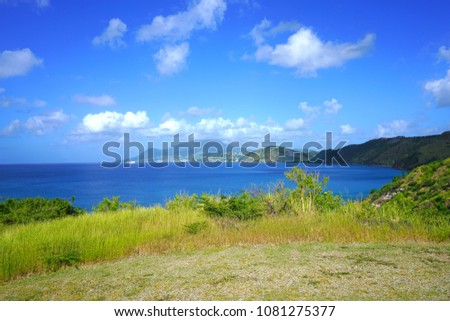 Landscape view of Basseterre Bay in the Caribbean Sea in the Christophe Harbour area in the island of St Kitts, St Kitts and Nevis #1081275377
