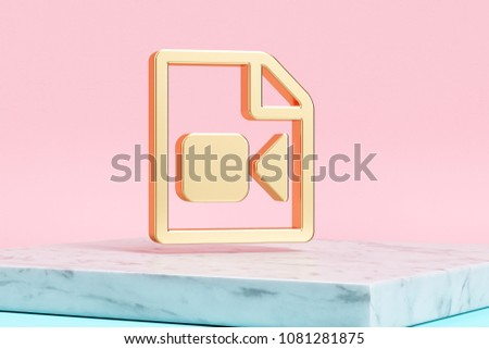 Golden File Video Icon on Pink Background . 3D Illustration of Golden Camera, File, Film, Movie, Recording, Video Icons on Pink Color With White Marble. #1081281875
