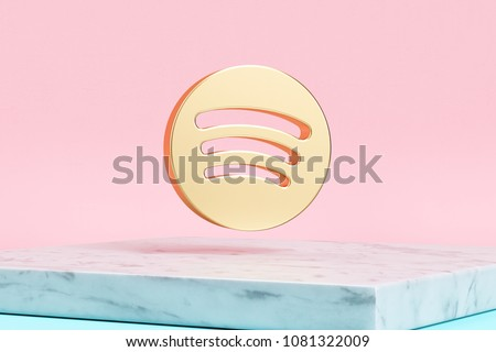 Golden Spotify Icon on Pink Background . 3D Illustration of Golden Audio, Audio Streaming, Music Icons on Pink Color With White Marble. #1081322009