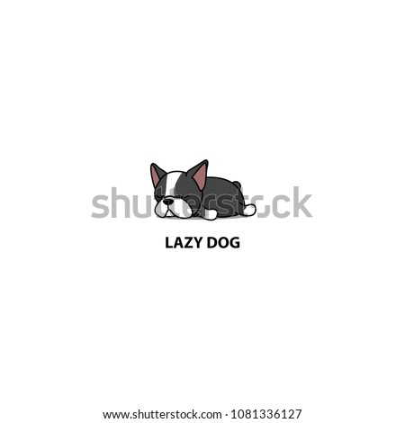 Lazy dog, cute boston terrier puppy sleeping icon, vector illustration