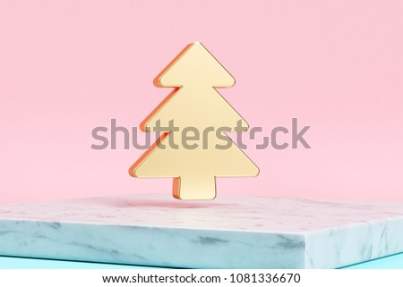 Golden Christmas Tree Icon on Pink Background . 3D Illustration of Golden Christmas, Christmas-Tree, Creative, Decoration, Grid Icons on Pink Color With White Marble. #1081336670