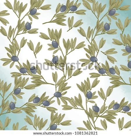 Olive seamlless pattern digital clip art watercolor drawing flowers illustration similar greeting birthday celebration card black frames digital flowers geometric ribbon on white background
