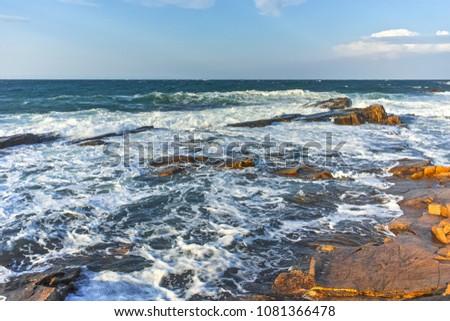 Amazing Sunset Seascape of the rocks at the coastline of Chernomorets, Burgas region, Bulgaria #1081366478