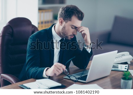 Pressure people disease person executive authority career specialist concept. Half-turned photo of serious sad upset unhappy stressed depressed nervous negative entrepreneur touching forehead #1081402190