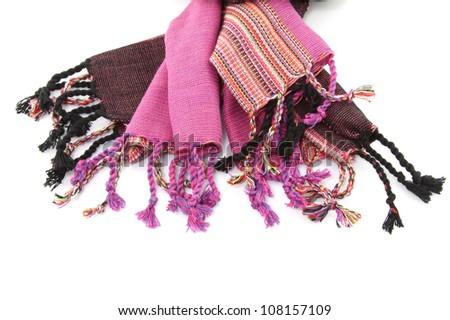 Purple cotton scarf seam on white background #108157109