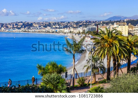 NICE, FRANCE, on March 9, 2018. A view from Hill Shato on Promenade des Anglais, a bay and pebble beach on its coast #1081723886