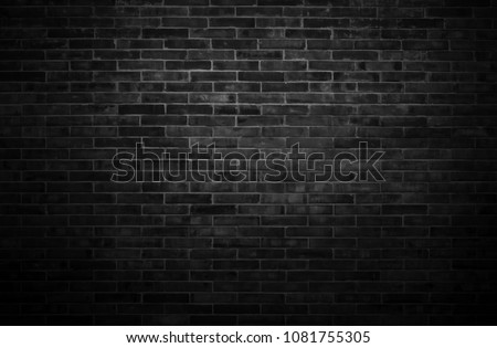 Black wall background The surface of the brick dark jagged. Abstract black wall background #1081755305