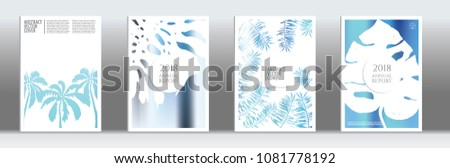 Blue cover set. Minimal flyer on light background.  Liquid design. Brochure foil design. Blue and white backdrop. Stylish vector cover design.  Abstract gradient retro texture. #1081778192