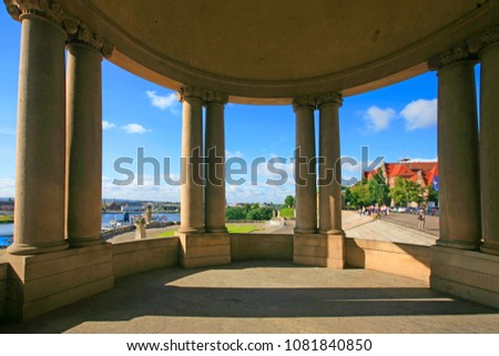 View on the Oder river and the city of Szczecin from the arches and balcony of the towers of the Haken terrace, Szczecin, Poland  Royalty-Free Stock Photo #1081840850
