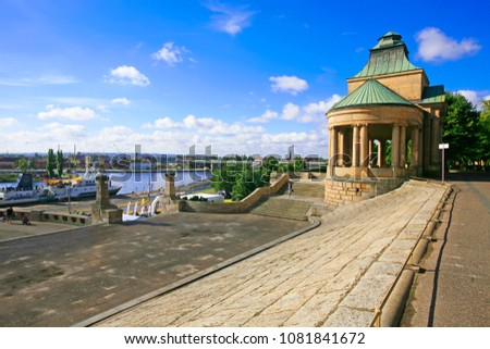 View on the Oder river and the city of Szczecin from the stairs of the Haken terraces, Szczecin, Poland  Royalty-Free Stock Photo #1081841672