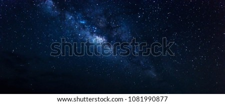 Panorama Milky way star on dark night.Deep sky on Universe. with noise and grain.Photo by long exposure and select white balance.
