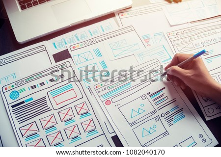 Website designer Creative planning application development  draft sketch drawing template layout framework wireframe design studio . User experience concept . Royalty-Free Stock Photo #1082040170