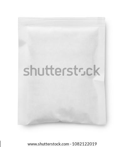 White blank paper sachet isolated on white Royalty-Free Stock Photo #1082122019