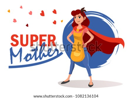 Happy mother day. Housewife character.