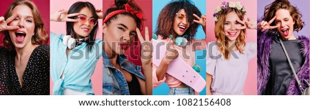 Beautiful girl with shiny hair posing with peace sign while making selfie. Laughing lady with little tattoo on arm taking picture of herself in her room.
