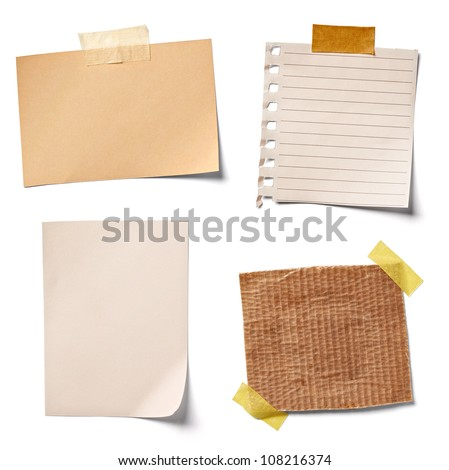 collection of  various vintage note papers on white background. each one is shot separately Royalty-Free Stock Photo #108216374