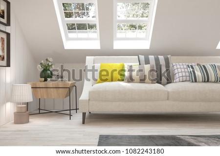 White modern room with sofa. Scandinavian interior design. 3D illustration #1082243180