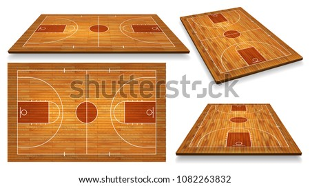Set Perspective Basketball court floor with line on wood texture background. Vector illustration.