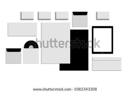 Black white and gray color mock-up of stationery, a template for brand identification on a white background. Envelopes, sheets of paper #1082343308