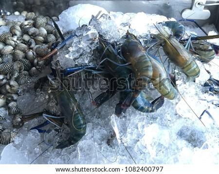 Raw fresh shrimps prawns shellfishs on ice in the market thailand #1082400797