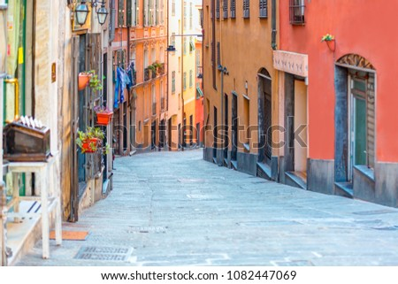 The high narrow house and Genoa is a historical port of city in northern italy Royalty-Free Stock Photo #1082447069