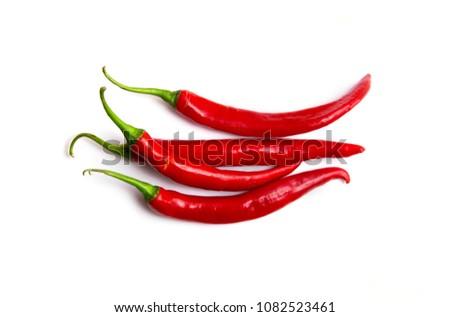 Chili spur pepper ( Cayenne pepper, long fed pepper, spur pepper) on white background  #1082523461