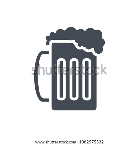 Glass of beer silhouette beverage alcohol raster icon illustration