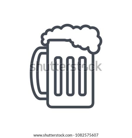 Beer glass line beverage alcohol raster icon illustration