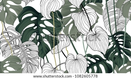 Floral seamless pattern, green, black and white split-leaf Philodendron plant with vines on white background, pastel vintage theme Royalty-Free Stock Photo #1082605778