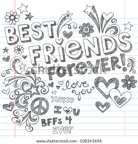 Hand-Drawn Best Friends Forever Love & Hearts Sketchy Back to School Style Notebook Doodles Design Elements on Lined Sketchbook Paper Background- Vector Illustration