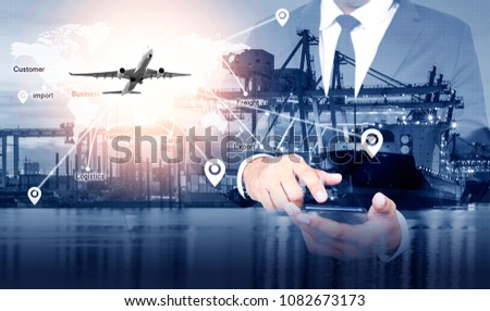 Distribution of logistics networks on industrial freight planes for fast delivery or online ordering. The concept of modern life, business, city life and internet of things. #1082673173