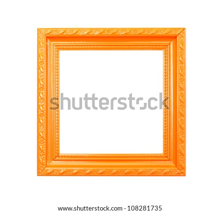Orange Vintage picture frame, wood plated, white background, clipping path included