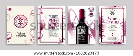 Collection of templates with wine designs. Brochures, posters, invitation cards, promotion banners, menus. Wine stains background. Vector illustration. Layered