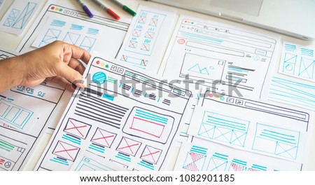 Website designer Creative planning application development  draft sketch drawing template layout framework wireframe design studio . User experience concept . #1082901185